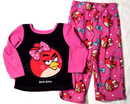 Girl's Size 2T 2 T Two Piece Pink/ Black Fleece Angry Birds Pajama Top &... - $10.50