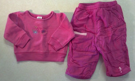 Girl's Size 12 M Months 2 Piece Outfit Pink Floral Sweatshirt & TCP Sweatpants - $11.10
