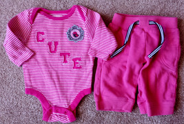 "Girl's Size 0-3 M Months Two Piece Old Navy Pink Striped ""CUTE"" Bird Top & Pants - $12.50"