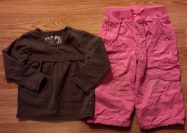 Girl's Size 24 M Months Brown Laced Children's Place Top & Pink Carter's Pants - $13.10