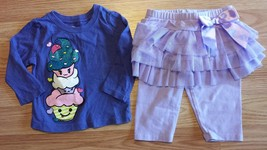 Girl's Size 6-9 M Months Two Piece Purple Children's Place Cake Top, Tulle Pants - $17.00