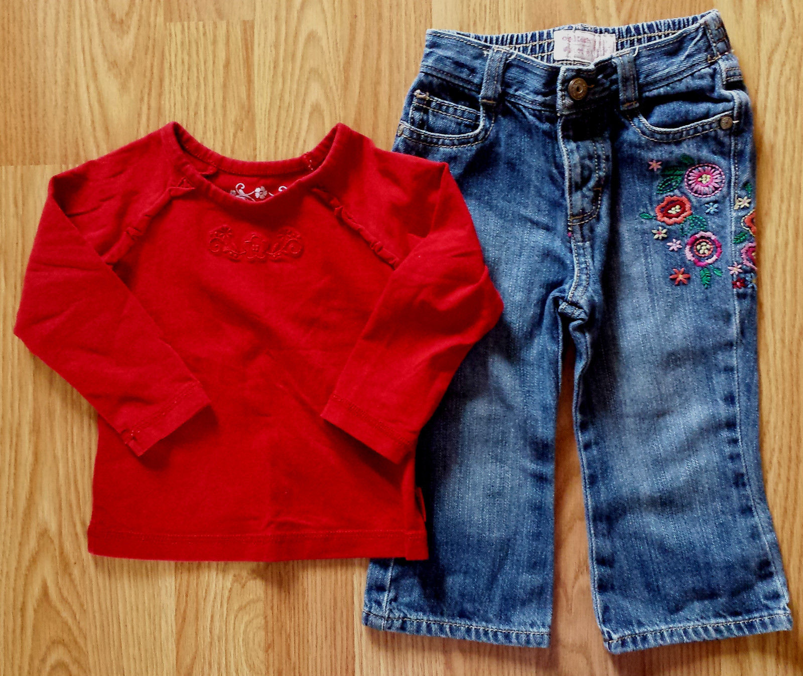 Girl's Size 18 M Months Two Piece Red Floral Place LS Top & Denim Osh Kosh Jeans