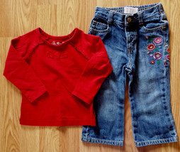 Girl's Size 18 M Months Two Piece Red Floral Place LS Top & Denim Osh Kosh Jeans - $17.00