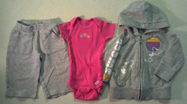 "Girl's Sz 6-9 M Month 3 Pc Gray ""Sweet"" Hooded Jacket, Floral Top & Pants Outfit - $18.00"