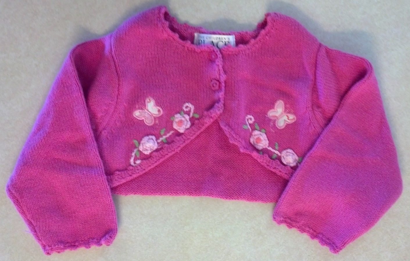 Girl's Sz 3-6 M Months 3 Pc Floral TCP Place Sweater Cardigan, Top & Denim Jeans