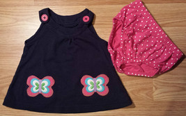 Girl's Size 6-9 Months 2 Piece Carter's Navy Blue Butterfly Pocketed Dre... - $15.35