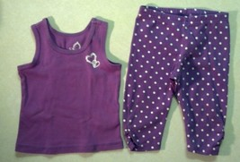 Girl's Size 6-9 M Months Purple 2 Piece Heart Top & Pant Pajama or Outfit TCP - $13.28