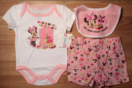 NWT Girl's Size 3-6 M Months 3 Piece Minnie Mouse Top, Shorts & Bib Outf... - $13.55