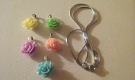 Set Of Five Interchangeable Handmade Carved Rose Pendants & Chain Gift Set - $12.99