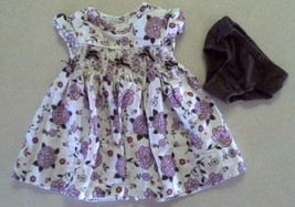 Girl's Size 3-6 M Months Two Pc Cream Floral Designed Bowed Dress & Brown DC - $16.94