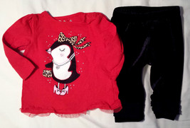 Girl's Size 6-9 M Months Two Piece Red Tulle Penguin J Beans Top & Place Pants - $16.25