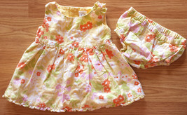 Girl's Size 3-6 M Months Two Piece Baby Gap Yellow Linen Floral Dress & ... - $16.70