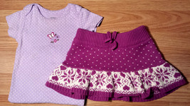 Girl's Size 12 M 9-12 Months Purple Floral Carter's Top & Heart Cable Kn... - $16.70