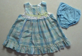 Girl's Size 12 M Months 2 Piece Sophie Rose Blue Dress Set Eyelet & Ribbon Bow - $16.70