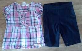 Girl's Size 12-18 M Months 2 Piece TCP Place Pink Plaid Ruffle Top & Capri Pants - $16.79