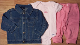 Girl's Size 6-9 M Months 3 Pc Blue Faded Glory Denim Jacket, Pink Pants & Top - $16.25