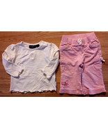 Girl's Size 9-12 M Months 2 Pc Cream Floral Place Top & Pink Gap Butterf... - $16.25