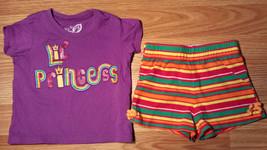 "Girl's Size 12 M 9-12 Months Purple ""Lil Princess"" Rainbow Place Top + Shorts - $16.25"