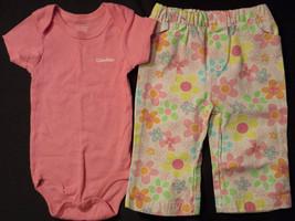 Girl's Size 6-9 M Months 2 Pc Pink Calvin Klein Top & Pink Floral Disney Pants - $16.25