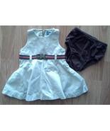 Girl's Sz 6/9 M Months 2 Piece Set Cream Snap Belt Designed TCP Dress & ... - $16.79