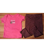 Girl's Size 12 M 9-12 Months Pink Carter's Mommy Loves Me Monkey Top & L... - $17.17