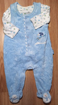 Boy's Size 0-3 M Months 2 Pc Blue Velour Snowman Footed Pants Romper & L... - $9.50