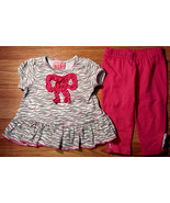 Girl's Size 6/9 M Months Two Piece Carter's Animal Print Ruffled Bow Top... - $12.65