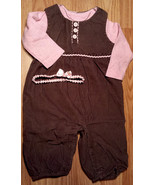 Girl's Size 6 M 3-6 Months Two Piece Brown Corduroy Carter's Suspenders ... - $14.00