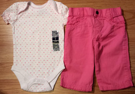 Girl's Sz 0-3 M Months 2 Pc Faded Glory NWT White Heart Top & Pink Ruffl... - $16.25