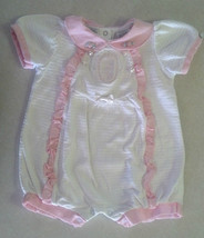 Girl's Size 6-9 M Months White Floral & Bunny Embroidered Ruffled One Pc... - $10.18
