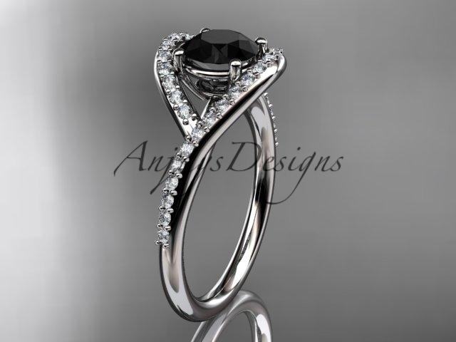 Eafring383 white gold  platinum  diamond wedding ring  diamond engagement ring  black diamond  1