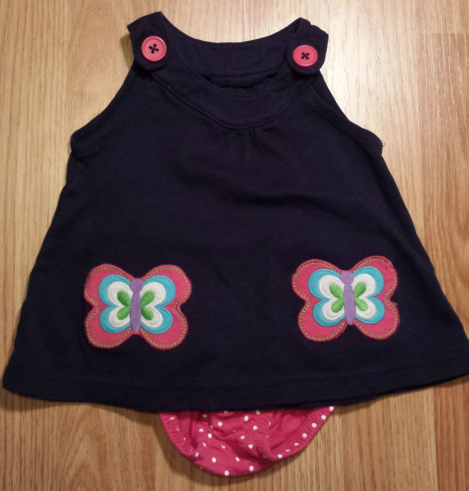 Girl's Size 6-9 Months 2 Piece Carter's Navy Blue Butterfly Pocketed Dres & DC