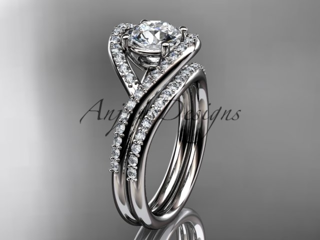 M  diamond wedding ring  diamond engagement ring  forever brilliant moissanite  matching band  1