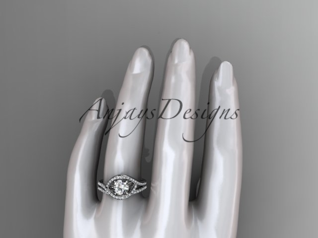 Unique engagement ring set, 14kt white gold diamond wedding ring, engagement set