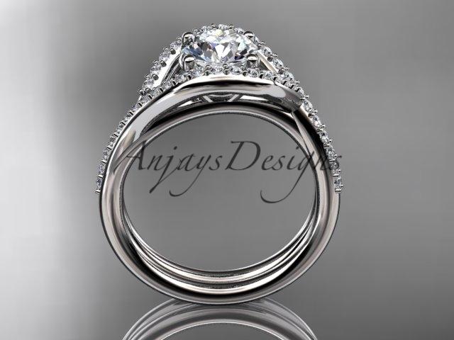 Unique engagement ring set, white gold ring, diamond ring, 14kt white gold diamo