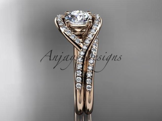 Unique engagement ring set, 14kt rose gold diamond wedding ring, engagement set