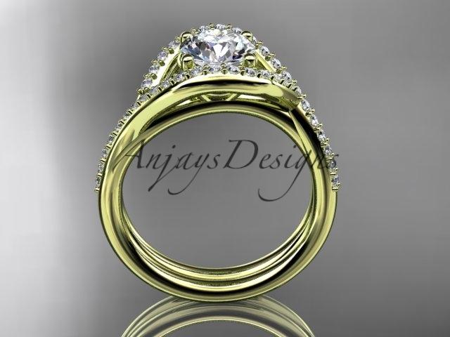 Unique engagement ring set, 14kt yellow gold diamond wedding ring, engagement se