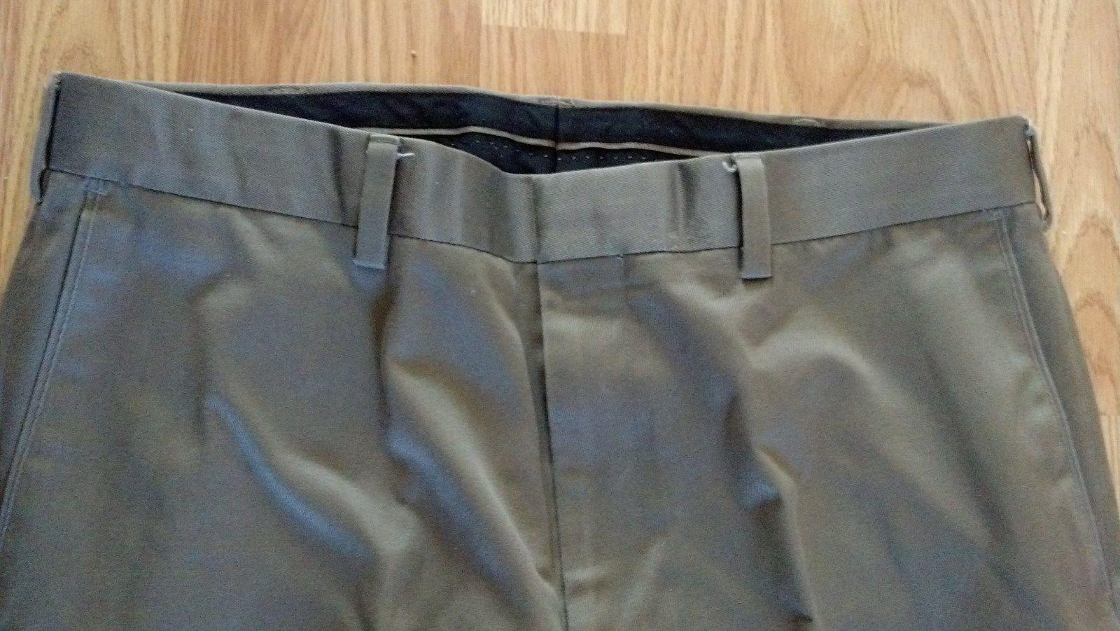 Men's W34 L32 Light Brown Pocketed AXIST Flat Front Dress Cuffed Pants