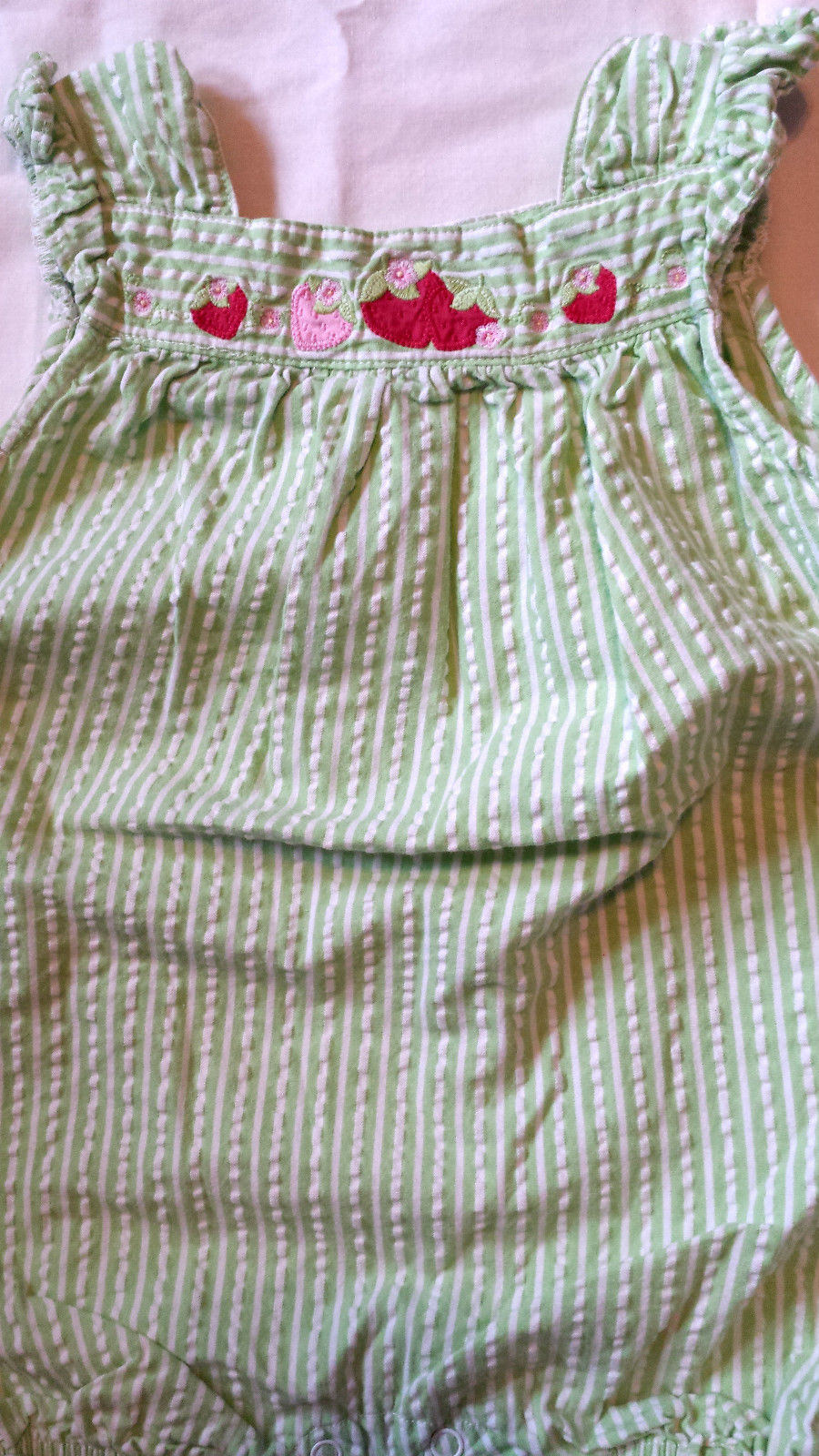 Girl's Size 3-6 M Months One Piece Green Gingham Gymboree Strawberry Romper