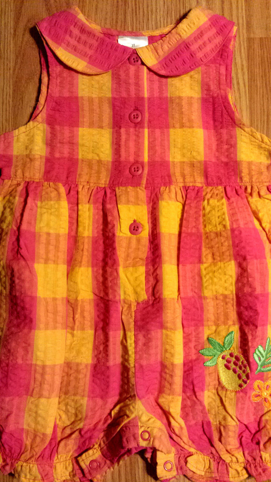NWOT Girl's Size 4T Years One Piece Pink/ Orange Carter's Pinapple Shorts Romper