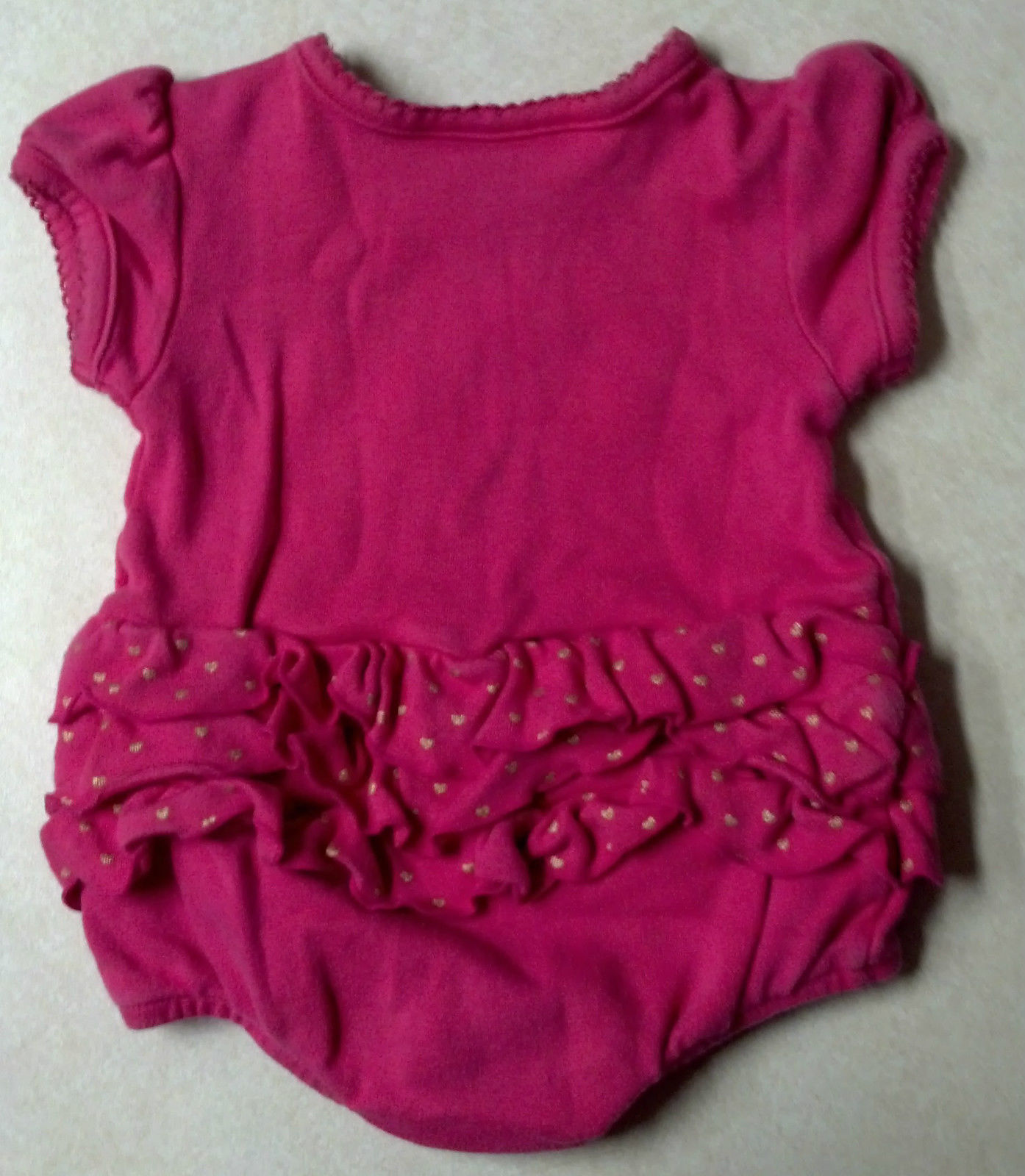 Girl's Sz 3-6 M Months One Pc Koala Baby Outfit Pink W/ Gold Sweetheart Ruffles