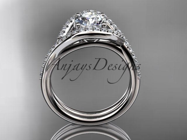 Platinum  diamond engagement set with a Moissanite center stone ADLR383S
