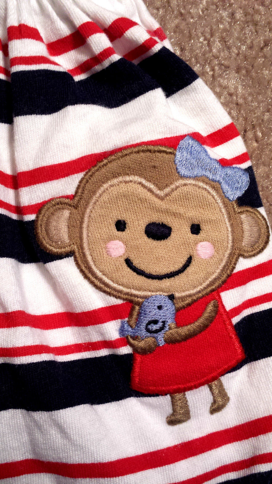 Girl's Size 3 M 0-3 Months 2 Pc Carter's Red White Blue Stripe Monkey Dress + DC