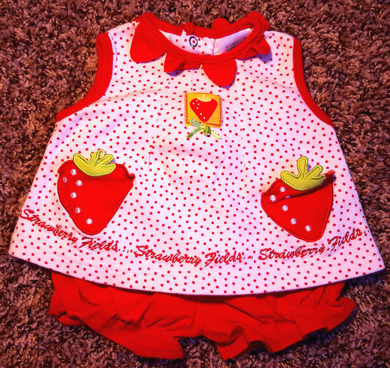 Girl's Size 0-3 M Months 3 Pc Okie D White Red Strawberry Fields Dress, DC & Cap