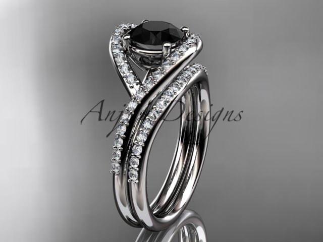E gold  platinum  diamond wedding ring  diamond engagement ring  black diamond  matching band  1