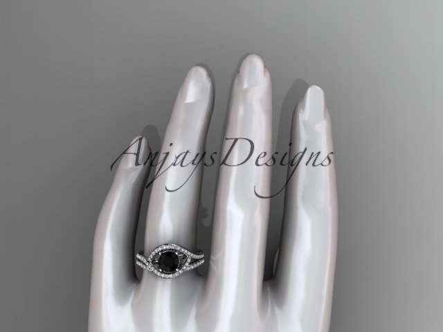 Unique engagement ring, black diamond ring set, 14kt white gold diamond wedding