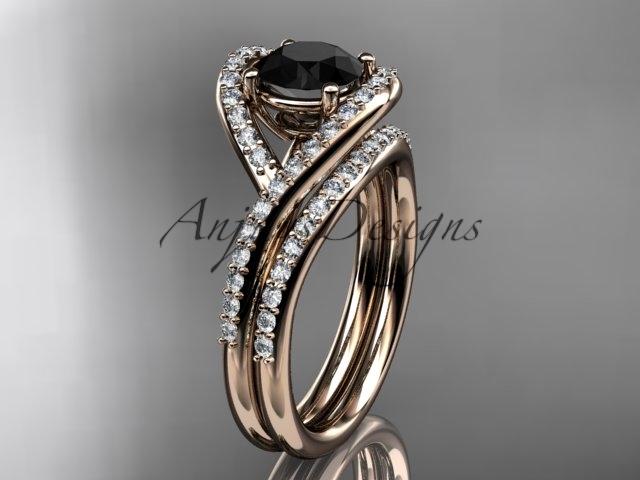 Ing383 rose gold  diamond wedding ring  diamond engagement ring  black diamond  matching band  1