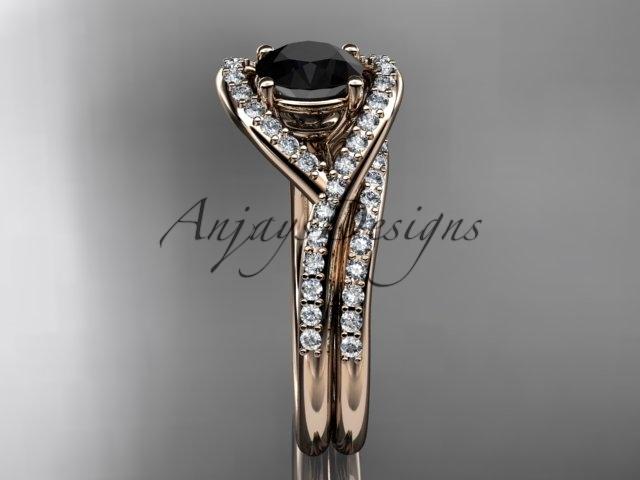 Unique engagement ring set, rose gold ring set, black diamond ring, 14kt rose go