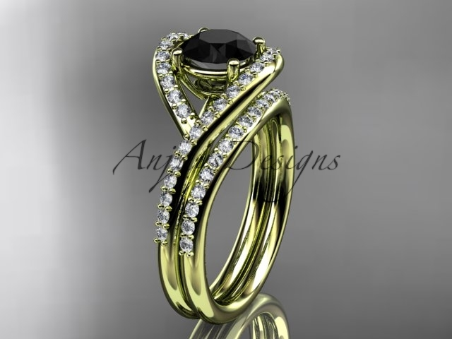 Unique engagement ring, yellow gold ring set, black diamond ring, 14kt yellow go