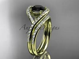 Ow gold  diamond wedding ring  diamond engagement ring  black diamond  matching band  1 thumb200